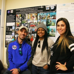 From left, Richard Addante, assistant professor of psychology, and students Constance Greenwood and and Raechel Marino in the Cognitive Neuroscience Laboratory.