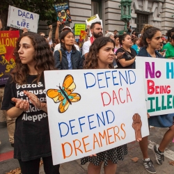 A rally in San Francisco on support of DACA. This week's conversation will focus on the June 18 U.S. Supreme Court ruling on DACA. Photo: Pax Ahimsa Gethen via Wikimedia Commons.