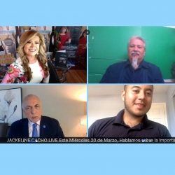 Clockwise from top: Jackline Cacho, host of the JC Jackline Cacho Show; Enrique G. Murillo Jr., CSUSB professor of education and executive director of Latino Education and Advocacy Days (LEAD); Adonis Galarza-Toledo, CSUSB Associated Students Inc. president; and Robert J. Nava, CSUSB vice president of University Advancement.