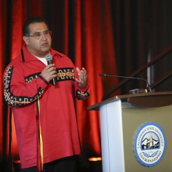 Assemblymember James Ramos, the first California-born Native America elected to the state legislature, gave the keynote address and opening prayer.