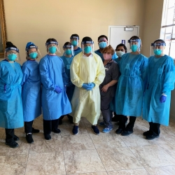 CSUSB Palm Desert Campus nursing students who assisted with COVID-19 testing in the Coachella Valley with U.S. Rep. and physician Raul Ruiz, D-Palm Desert.