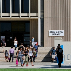 Students outside the John M. Pfau Library