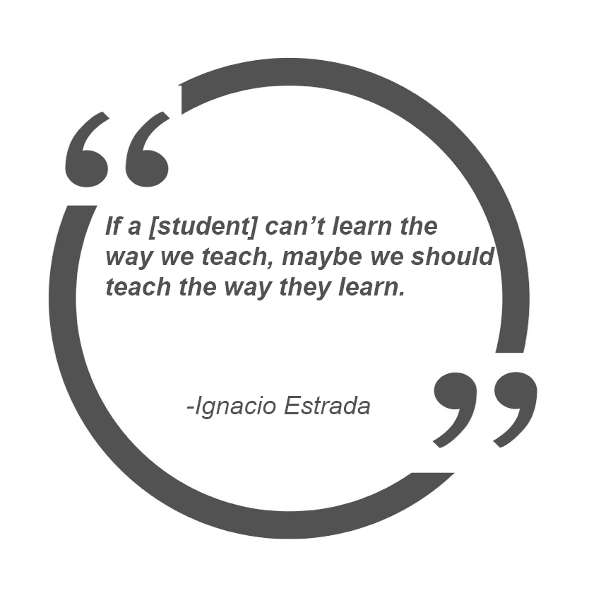 if a [student] can't learn the way we teach, maybe we should teach the way they learn. – Ignacio Estrada