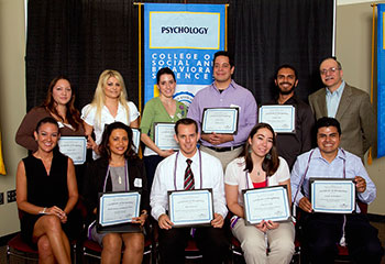 Psychology student 2010-2011 award and scholarship winners with Drs. Campbell and Ricco