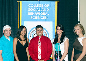 Psychology student Nicole Holderness is second from the right.