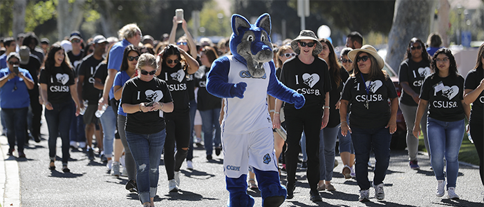 CSUSB staff walking with Cody Coyote