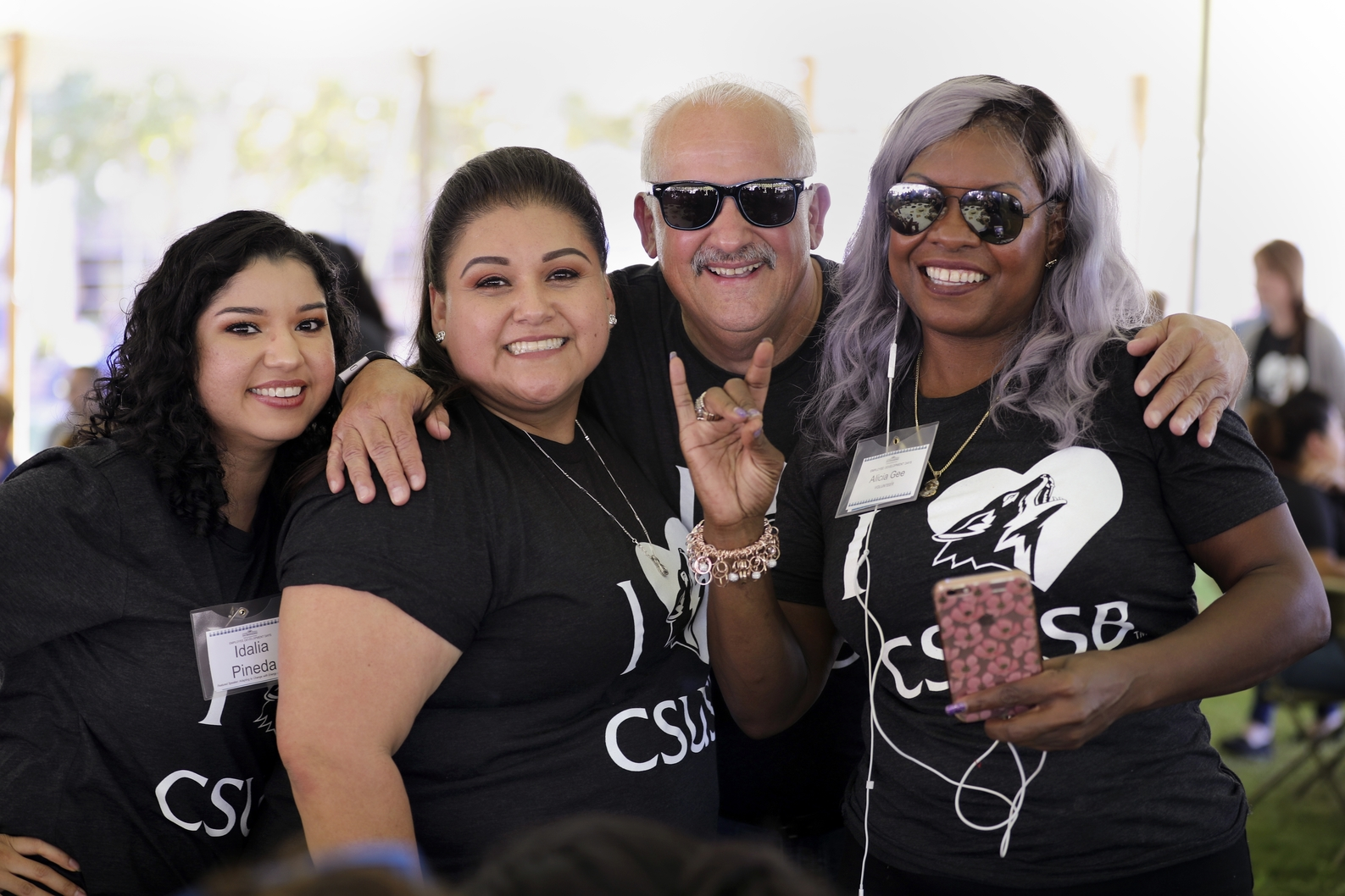 Counselors posing with CSUSB President.
