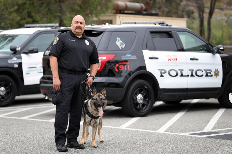 CSUSB University Police with police dog