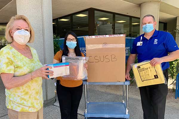 PDC nurses receive a donation of PPE from the Desert Health Care Network