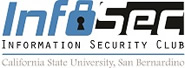 Club logo is InfoSec letters with keyhole symbolizing security