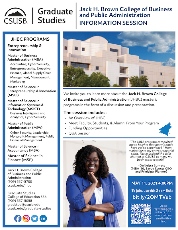Event information on a flyer with photo of Jack H. Brown building and and a photo of an MBA graduate.