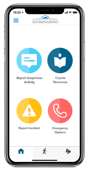 LiveSafe App - Report Suspicious Activity, CSUSB Coyote Resources, Report Incident, Emergency Options