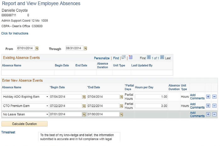 "Report and View Employee Absences - sample record showing ""No Leave Taken"""