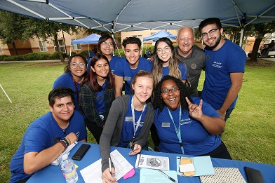 President Morales with Housing students