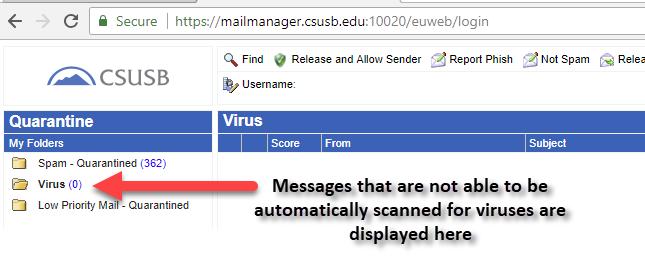 Virus folder of the Email Spam Control quarantine page