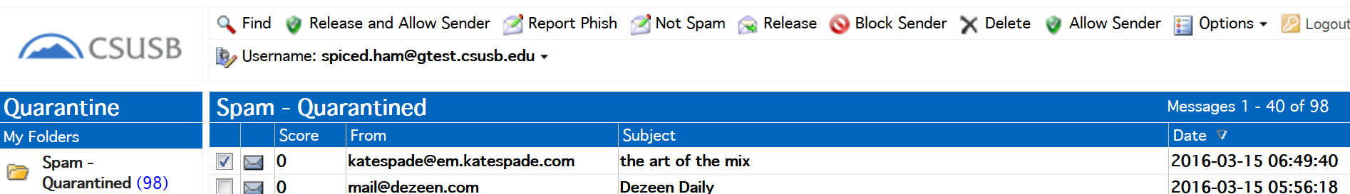 Screenshot of View and Take Action in the Quarantine Folder