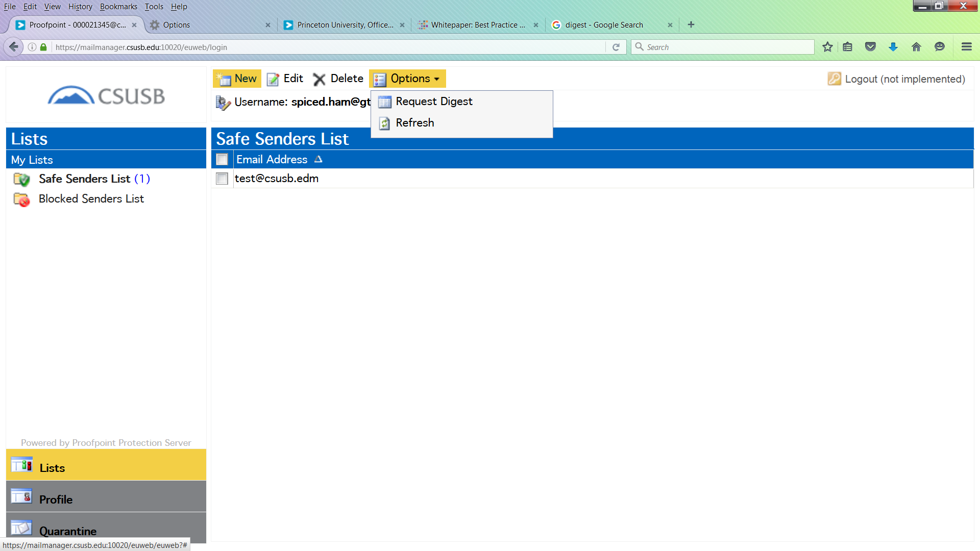 Screenshot of request digest
