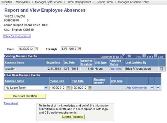 Report and Veiw Employee Absences sample record