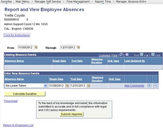 Report and View Employee Absences