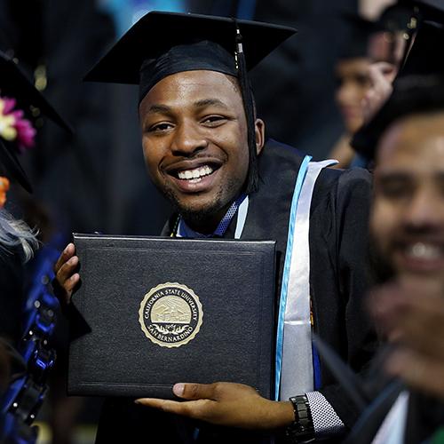 Man graduating