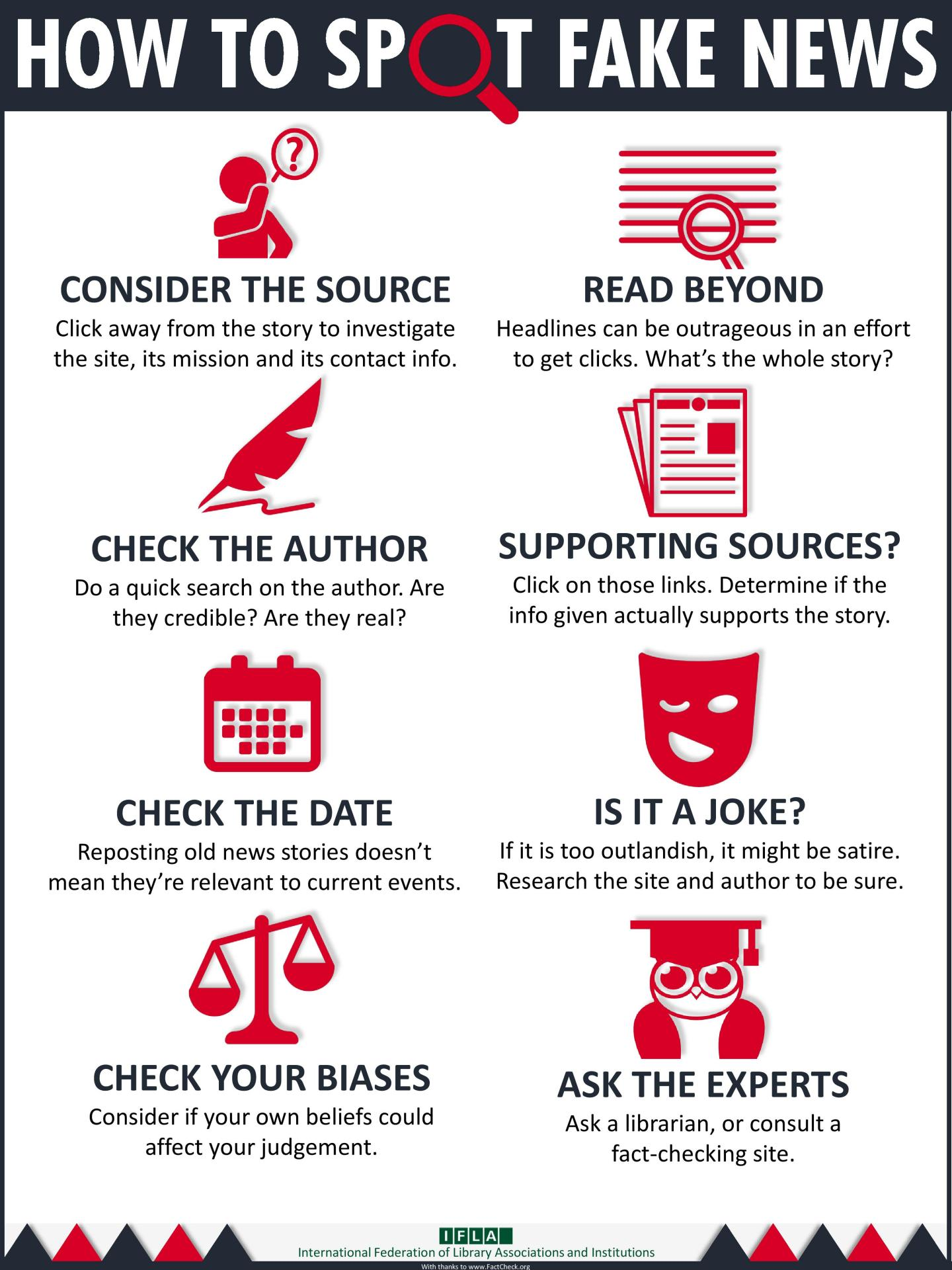 how to spot fake news: consider the source, check the author, date, your biases, read beyond, supporting sources?, is it a joke?, ask the experts