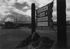 Wooden sign at entrance to the Manzanar War Relocation Center