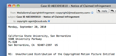 Fictitious Copyright Agent Notification