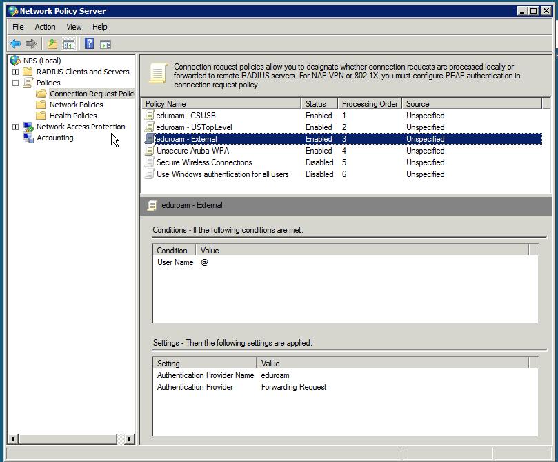 Configuring Microsoft NPS for eduroam-us | CSUSB