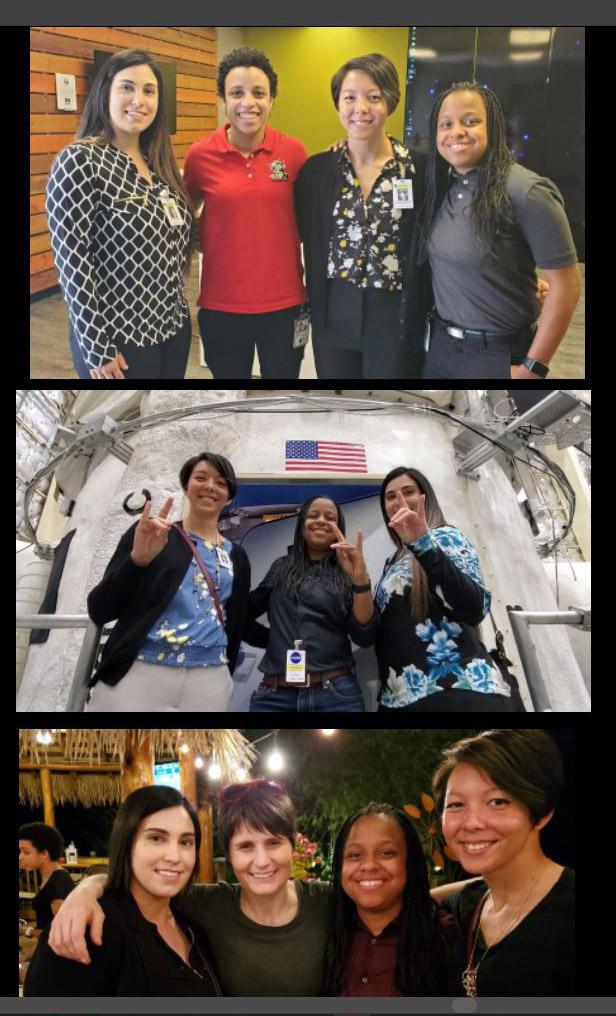 Top photo, from left, Raechel Marino, NASA astronaut Jessica Watkins, CSUSB alumna Alana Muller and Constance Greenwood; middle photo, Muller, Greenwood and Marino; bottom photo, Marino, ESA astronaut Samantha Cristoforetti, Greenwood and Muller. Photo courtesy of Richard Addante