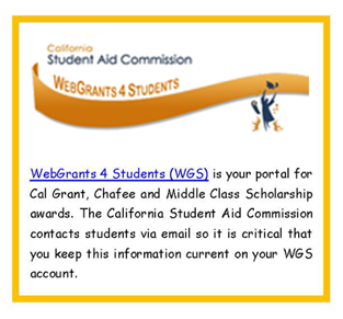 California State Aid Commission WebGrants 4 Students(WGS)